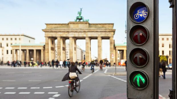 Green traffic lights for cyclists at the Brandenburger Tor (Brandenburg Gate)