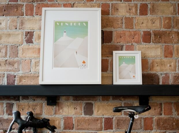 RB Cycling Posters Bruce Doscher Tour de France 1 A side-by-side comparison of full-size and mini prints. (jpg)